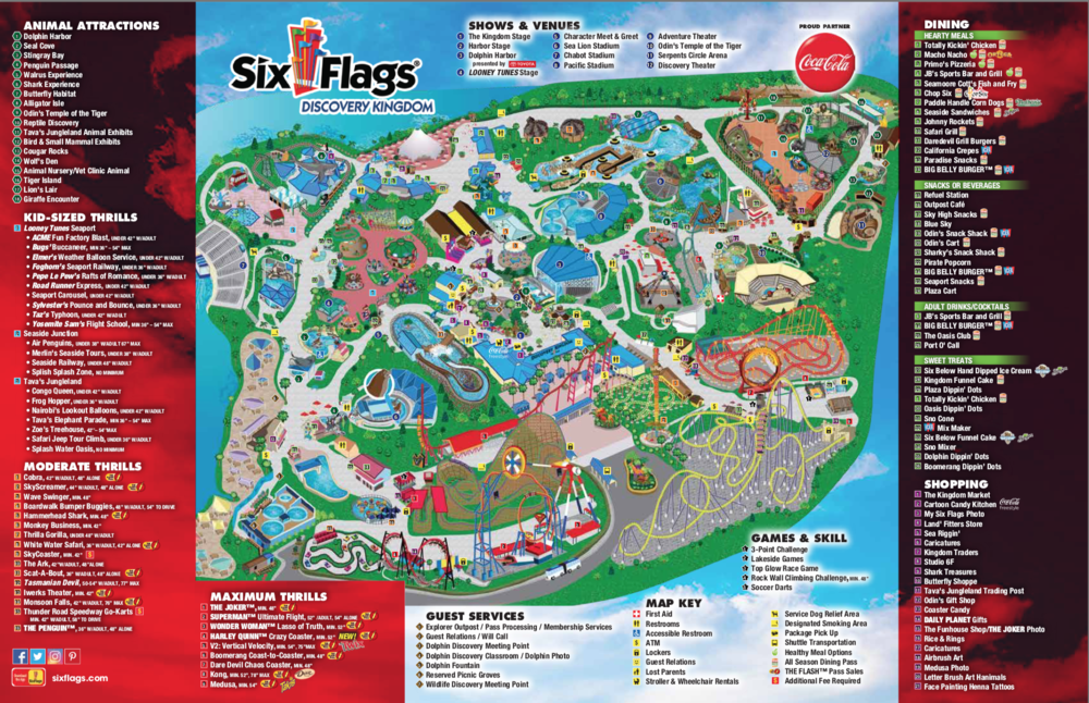 SIX FLAGS DISCOVERY KINGDOM PARK MAP, ALL CREDITS TO SIX FLAGS