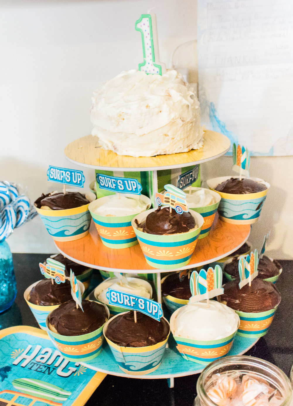 The  Surfs Up Cupcake Wrappers with Picks  was PERFECT for the theme!