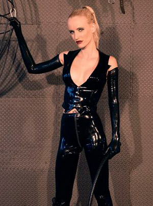 Victoria in a Syrene latex. Den of Iniquity dungeon, Los Angeles.