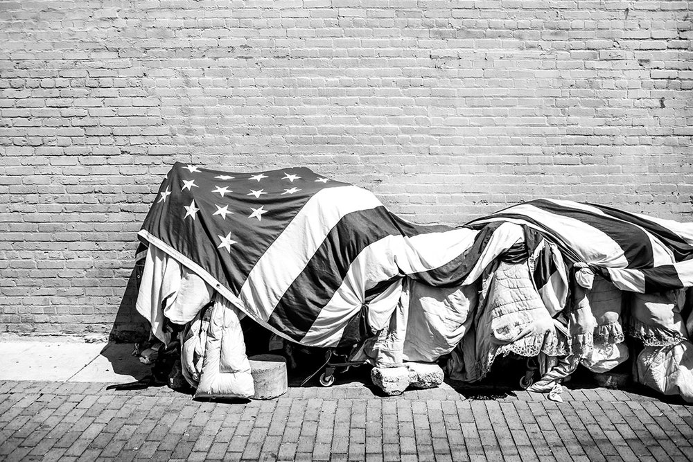 American Flag, Homelessness, Washington DC, USA, United States by Leica Photographer Manuel Guerzoni