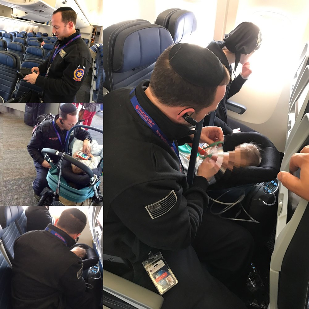 Transporting an infant on oxygen from California to New York for treatment