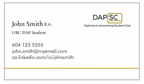 DAP BUSINESS CARD ORDERS UBC DAP Student Club
