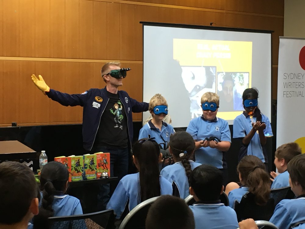Making mischief with school kids at BANKSTOWN CITY LIBRARY as part of the SYDNEY WRITERS' FESTIVAL.