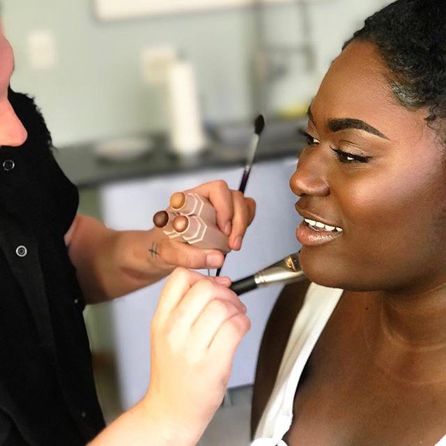 Bright ✨ Diamond ✨ Cheekbones on @daniebb3 for an upcoming project. #SneakPeak - I'm loving @fentybeauty #MatchStrix Trio in Suede, Espresso & Sinamon. 🍫 Gorg! #BehindTheScenes #FentyBeauty #makeupbymichael #makeupartist #nycmua #daniellebrooks #taystee #oitnb #daniebb3