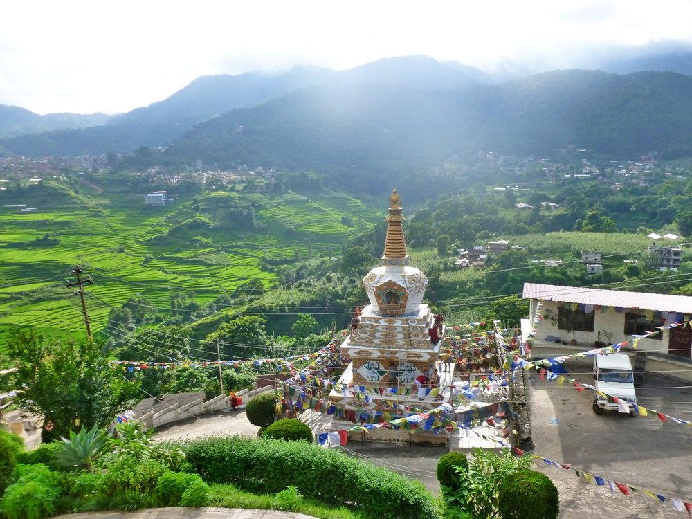 View from the Monastery overlooking the Pharping valley full of rice fields and leeches!