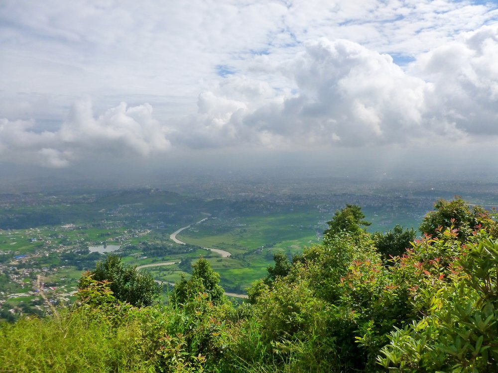 Overlooking the Kathmandu Valley. On a clear day (which is rare) you'd be able to see Mt. Everest from here!