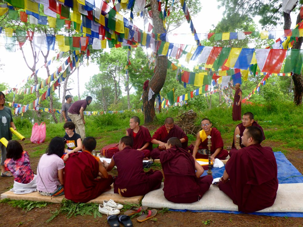 Farewell Puja - this was pretty spectacular. We had a huge fire with loads of incense, the monks chanted and played ceremonial instruments, we made offerings, cleaned the site and hung new prayer flags. It was a beautiful ceremony.