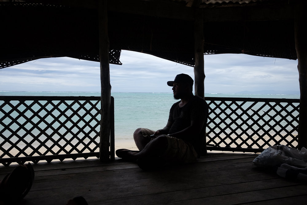 The cuzzy Poe in a beach fale in Savai'i.