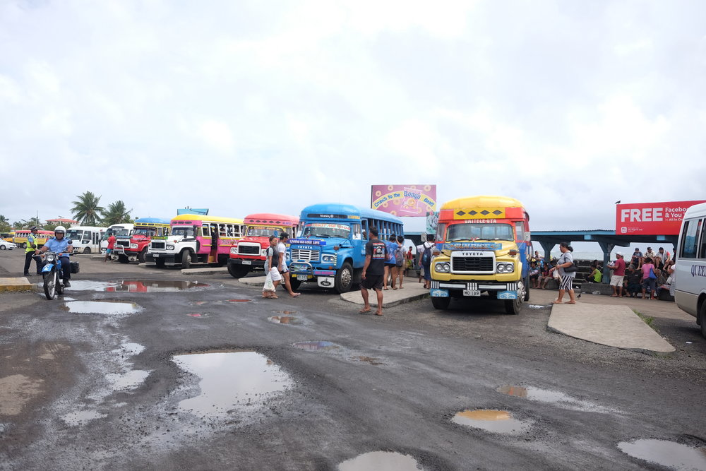Bus depot, by the markets in Apia.