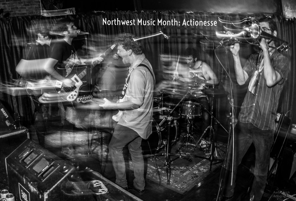 """ Free-wheeling, technically proficient, and filled with enough body-shaking grooves to tire out a VHS aerobics instructor, Actionesse could very well be your new favorite band."" - Northwest Music Scene"