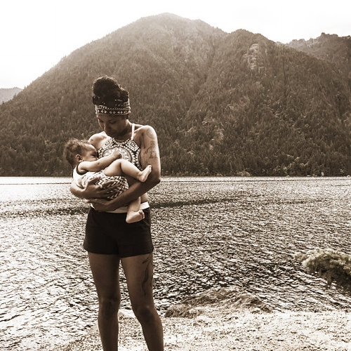 Jessie openly breastfeeding at Lake Cushman. July, 2017