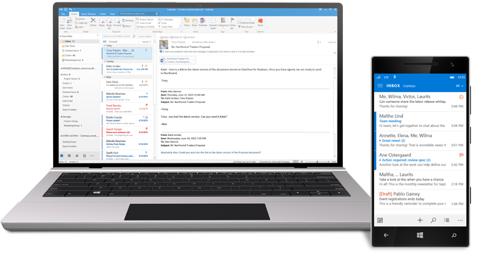 Outlook email and calendar
