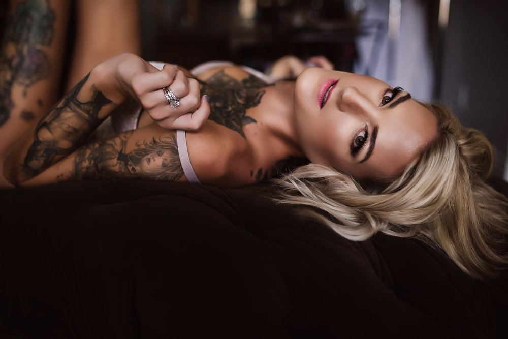 Calgary Boudoir Photographer, Tattoo woman, Tattooed, Edgy, Intense, Artist Shannon Smith