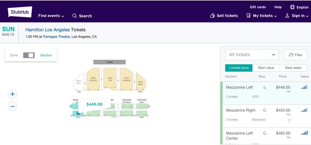 Lowest Hamilton Ticket Price (8/13 Pantages Show)