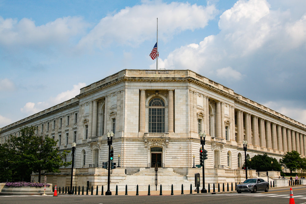Russel Senate Office Building following Sen. McCain's passing