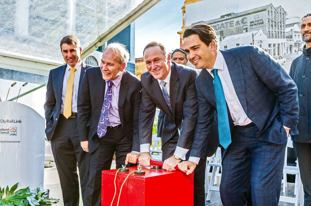 IT'S ALL GO! AT Chair Lester Levy, Auckland Mayor Len Brown, Prime Minister John Key and Transport Minister Simon Bridges at the historic groundbreaking ceremony for the CRL in Downtown Auckland June 2016