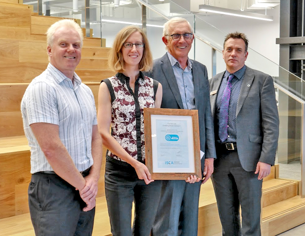 Left to right: Dale Burtenshaw, Project Director, Downer and Soletanche Bachy Joint Venture, Liz Root, CRL Principal Sustainability Advisor, CRL Project Director Chris Meale and Antony Sprigg, CEO ISCA at the announcement of the second award.