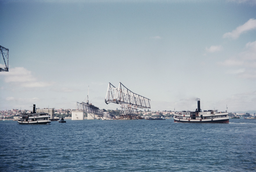 BRIDGE: The Auckland Harbour Bridge under construction in 1958 (Photo by Jack Kirk: Sir George Grey Special Collections, Auckland Libraries, 998-2)