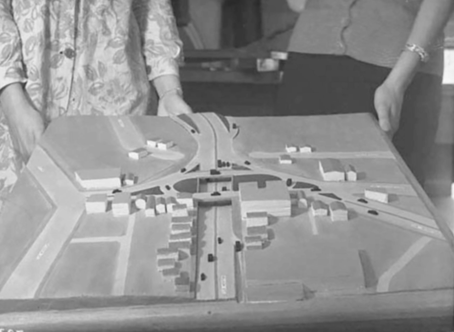 MOTORWAY: In 1959, this architectural model of the proposed motorway interchange over Newton Gully was displayed (Photo: Sir George Grey Special Collections, Auckland Libraries, 580-3912)