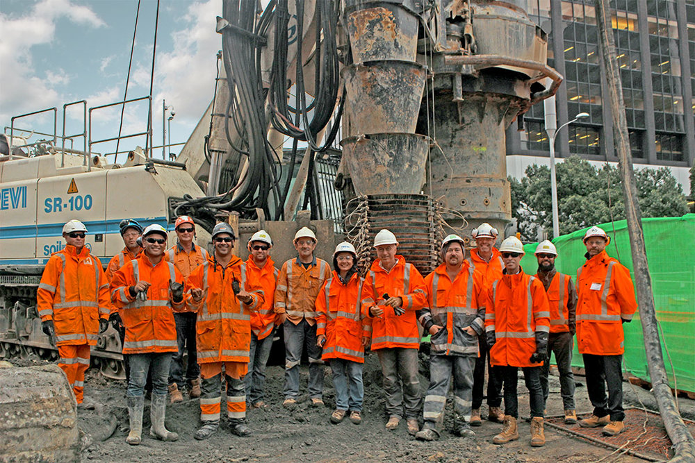 CREW: Staff from AT and the Connectus Joint Venture with 'Gomer' on completion of his last pile