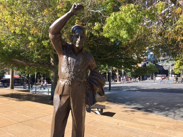 ROBBIE: Sir Dove-Myer Robinson, Auckland Councillor 1952-1959 and Auckland Mayor 1959-65 and then 1968-1980. This sculpture by Tobias Twiss, cast by Twiss and Frank Watson, stands in Aotea Square near the Auckland Town Hall