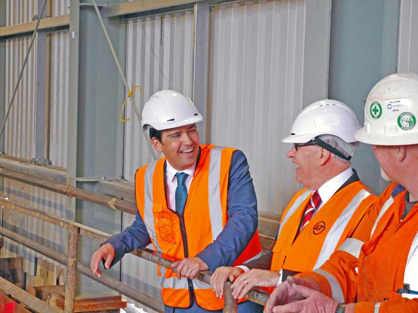 PROGRESS: Transport minister Simon Bridges and then Auckland Mayor Len Brown inspect CRL construction at the Victoria Street shaft