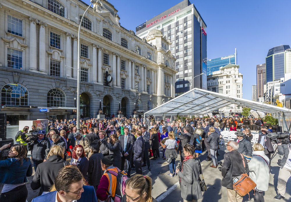 POPULAR: Aucklanders grabbed every advantage point they could outside Britomart to witness the important day
