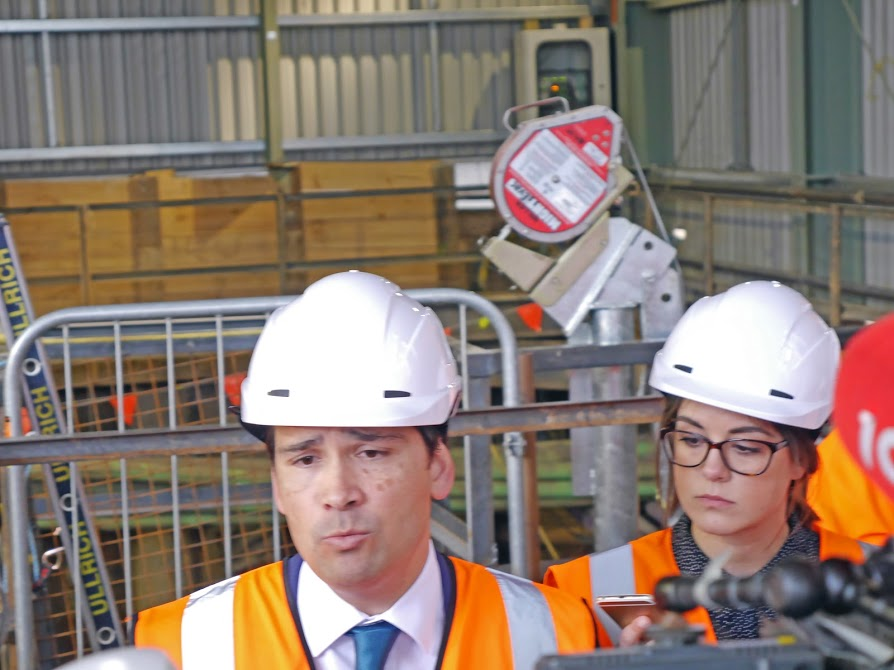GAME-CHANGER: Minister of Transport Simon Bridges surveys a City Rail Link shaft
