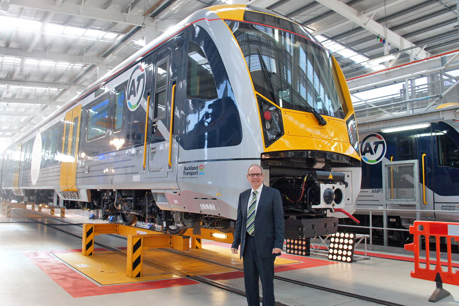THEY'RE HERE! Finally the Spanish-made electric trains arrive in Auckland pleasing Auckland Mayor Len Brown who made the CRL the number one priority of his mayoralty