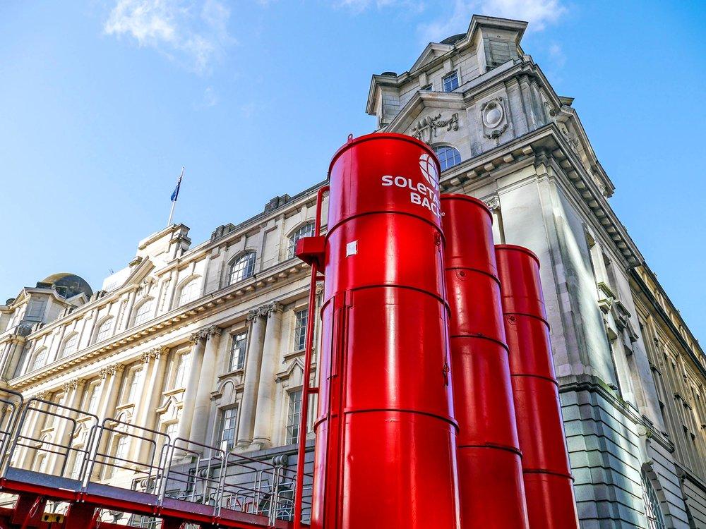 Red silos in Lower Queen Street