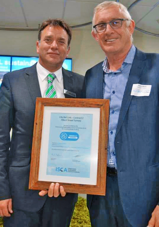 Antony Sprigg, CEO ISCA, (left) and CRL Project Director Chris Meale (right) with the first award.