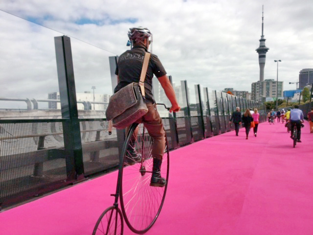 CYCLING: Aucklanders have taken to cycling. This pink cycleway, Te Ara I Whiti (the Lightpath), was built using an unused motorway offramp and won the transport category at the World Architecture Festival. Three hundred custom LED lights on the side of the path change colour when someone passes.