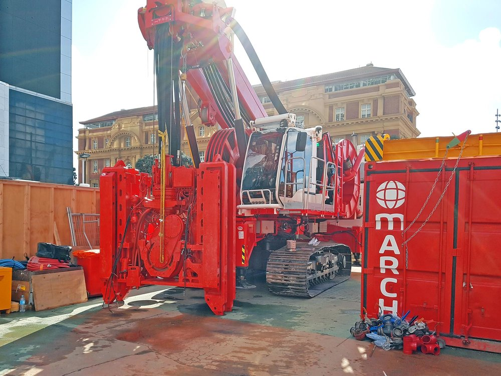 HYDROFRAISE: This hydrofraise machine will be used to dig the wall panels which form the structural support for the tunnels. This machine will use the bentonite plant to dig down about 15 metres