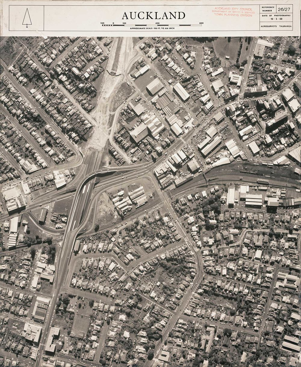 AERIAL: Eden Terrace in 1968 (Photo: Sir George Grey Special Collections, Auckland Libraries, NZ Map 7302)