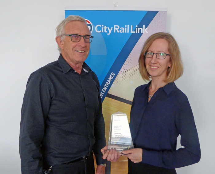 AWARD: CRL Project Director Chris Meale and Principal Sustainability Advisor Liz Root with the award