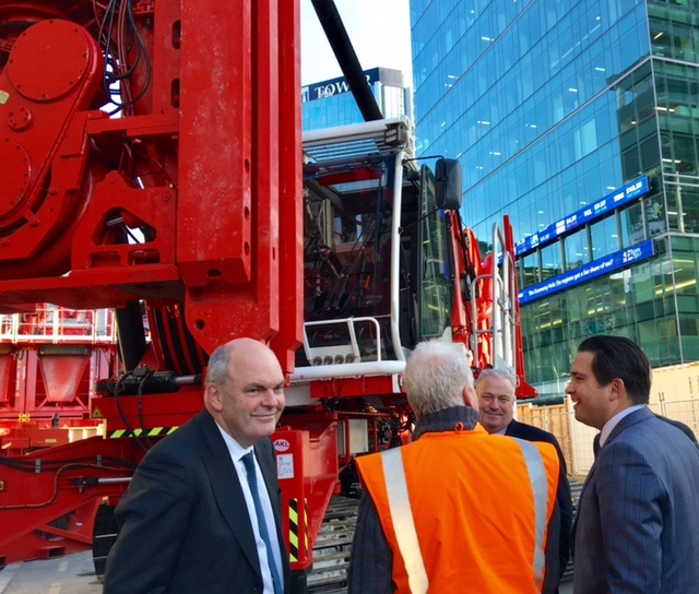 INSPECT: The official party inspects the construction machines outside Britomart Transport Centre