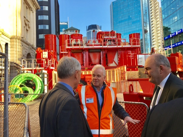 CLOSE-UP: Mayor Phil Goff and Finance Minister Steven Joyce inspect the massive machinery outside the Britomart Transport Centre