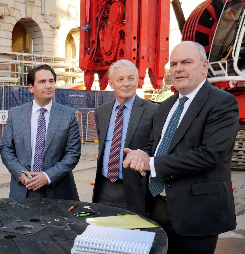 AGREEMENT: Transport Minister Simon Bridges, Auckland Mayor Phil Goff and Finance Minister Steven Joyce