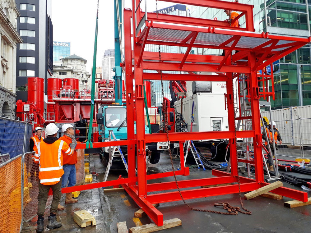 LOWER QUEEN ST:  Dwall cage assembly frame. This frame that will hold a Dwall reinforcing steel cage before it gets lowered down in the Dwall panel.