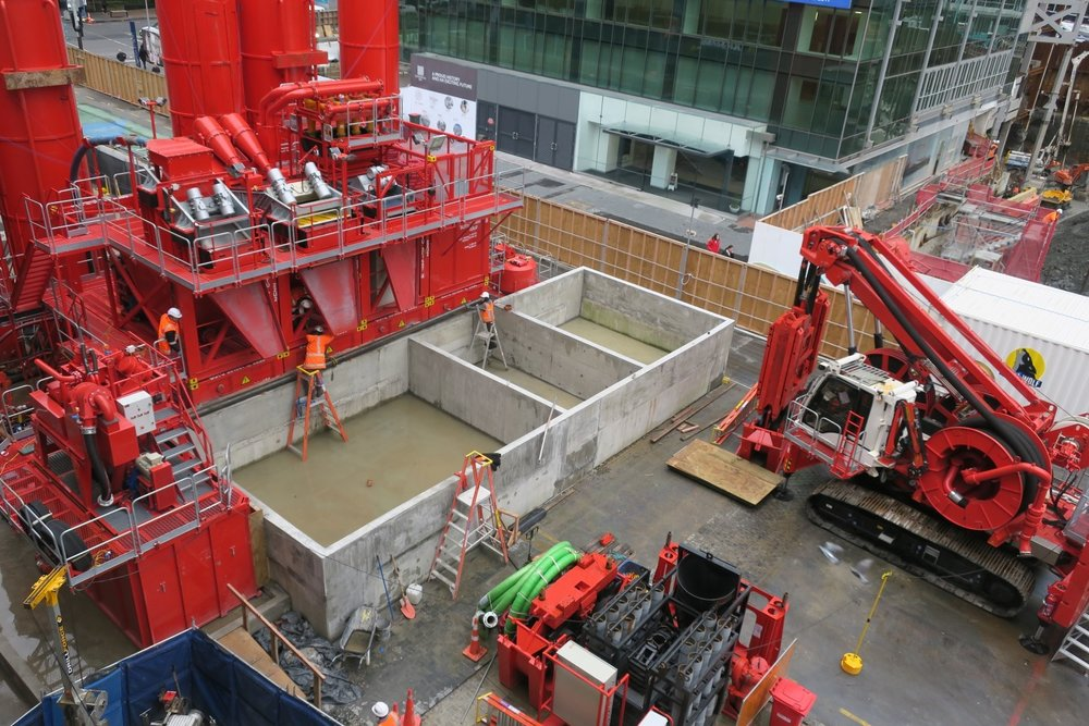 CRL work in Lower Queen Street.  This bright red 90 tonne piling rig named Sandrine worked inside and outside the historic Chief Post Office (Britomart Transport Centre) building until being returned to France in early 2018.