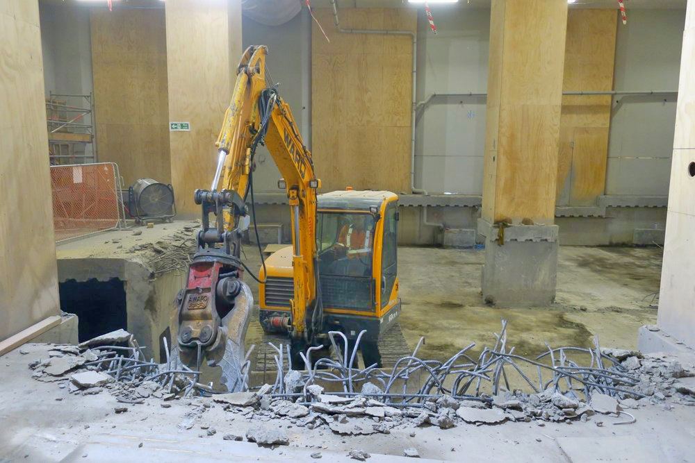 DEMOLISHED: The CPO floor that is being demolished (excavated then munched) down to the temporary platform level on the northern side