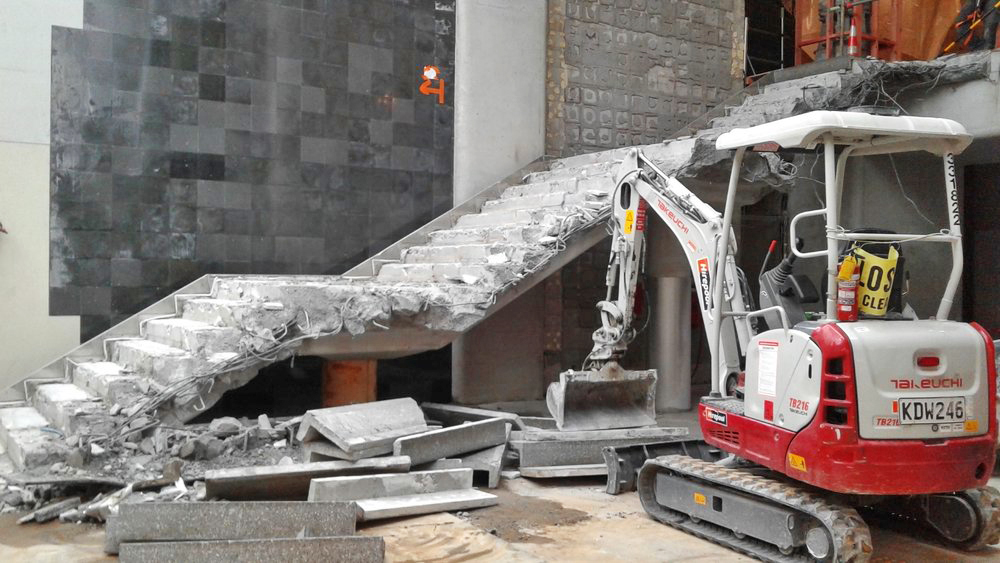 STAIRS: The stairs are being demolished between the CPO and B1