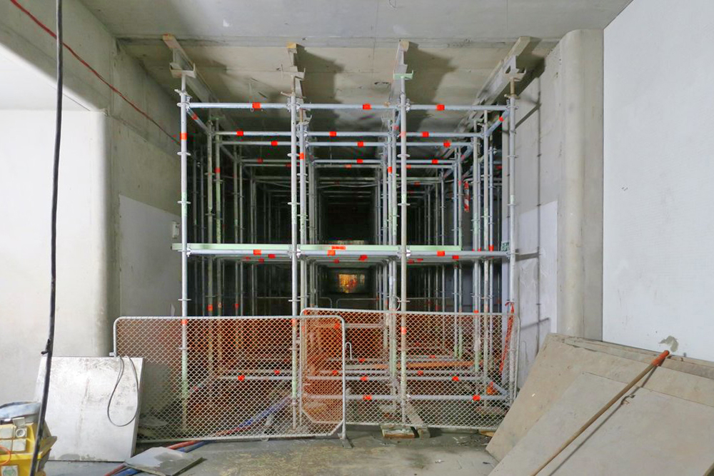 SUPPORT: Scaffolding used to support the remaining CPO floor