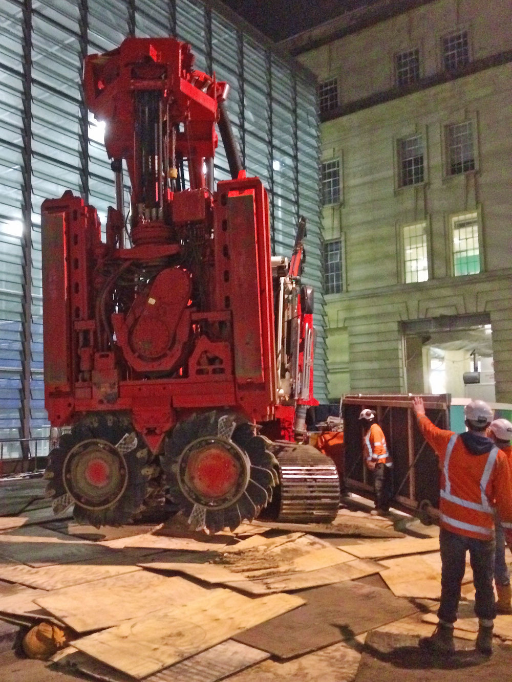 IN WAITING:The big Sandrine rig has been moved from Lower Queen Street in front of the CPO to start work inside the building