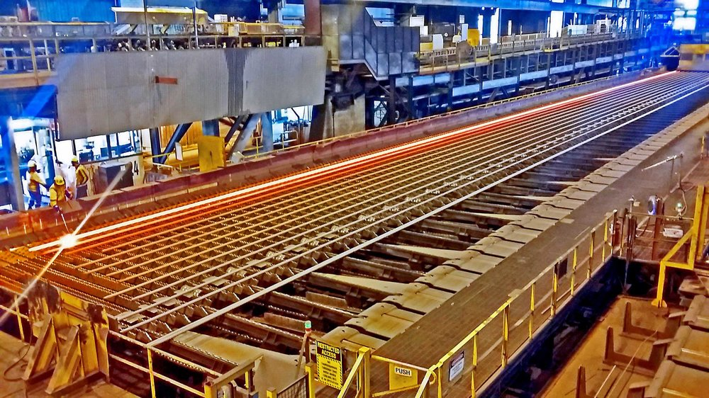 STEEL: The  earthquake-strength 50mm diameter reinforcing steel bars being manufactured for CRL at Pacific Steel in Otahuhu
