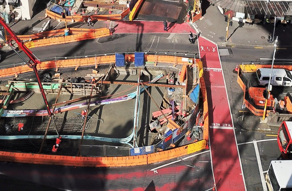 Aerial shot of the Albert Street/Customs Street intersection where CRL construction was taking place September 2017