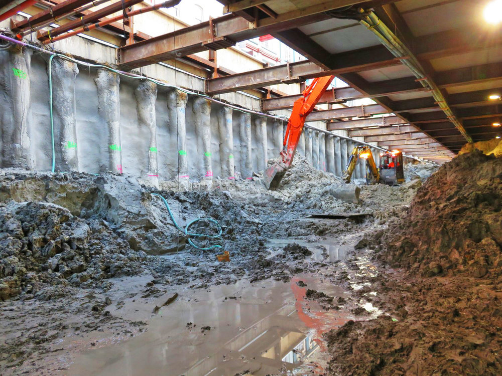 PILES: A 9-storey high piling rig nicknamed Gomer was used to dig 362 piles of up to 20m deep up Albert St before this work started