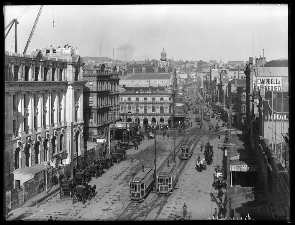 TRAMWAY: Trams soon after the CPO was opened in 1912 (Photo: Sir George Grey Special Collections, Auckland Libraries, 1-W1533)