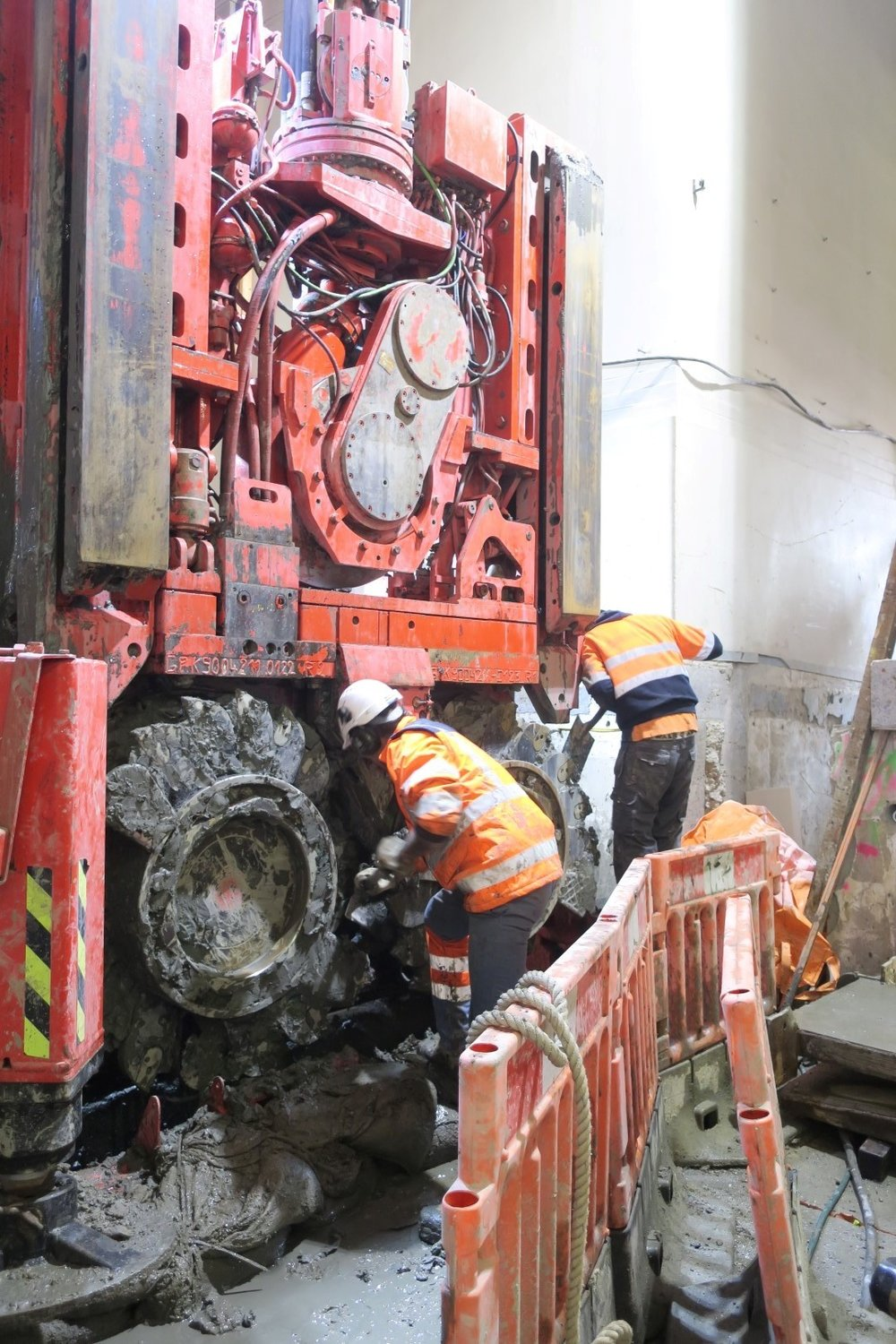 This bright red 90 tonne piling rig named Sandrine worked inside the historic Chief Post Office (Britomart Transport Centre) building until being returned to France in early 2018.