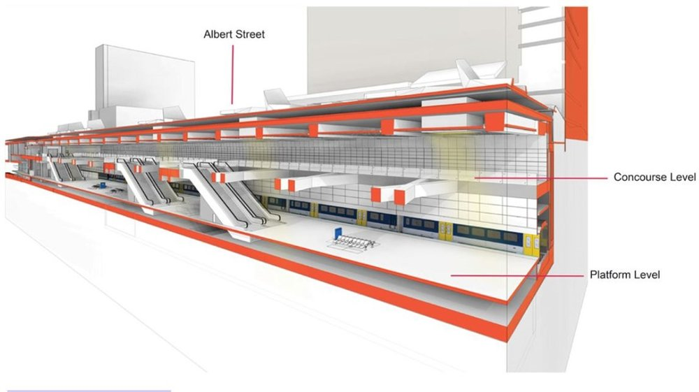 Aotea Station section view